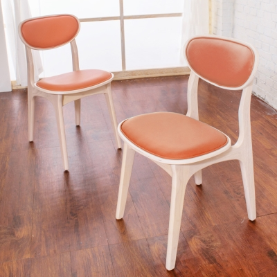 Boden-莉亞簡約實木餐椅/單椅(橘色)(四入組合)-43x49x79m