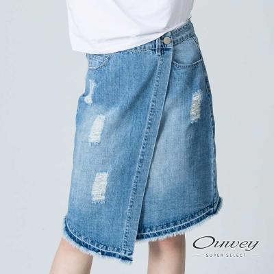 OUWEY歐薇 率性刷破斜裁一片裙(藍)