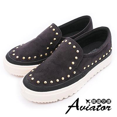 Aviator*韓國空運-正韓製個性鉚釘點點懶人厚底鞋-黑