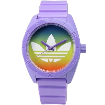 adidas Santiago 暈染橡膠腕錶-藍綠x紫 /40mm