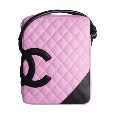 CHANEL 經典康朋系列方形斜背包(粉紅,黑)-展示品