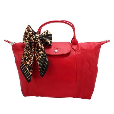 Longchamp Le Pliage Cuir小羊皮短把折疊中型水餃包-紅色(贈帕巾)