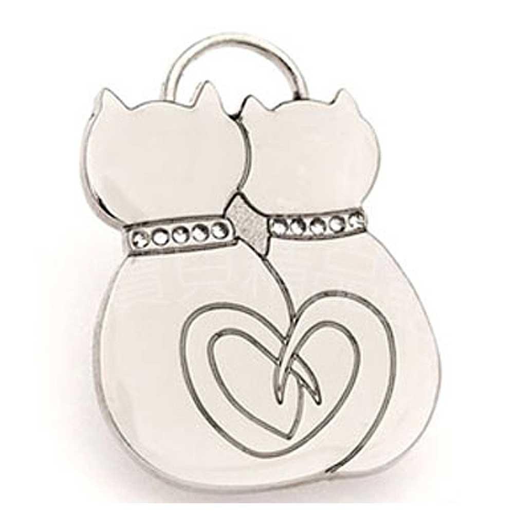 澳洲品牌Hamish McBeth - BlingBling水晶吊牌、銀色相愛貓咪