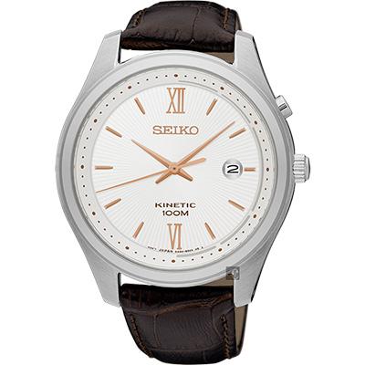 SEIKO KINETIC 紳士人動電能手錶(SKA773P1)-銀x咖啡/42mm