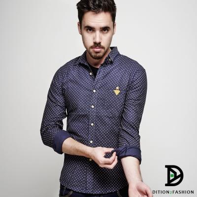 DITION 紳士休閒DOT滿版點點三角皮革長袖襯衫