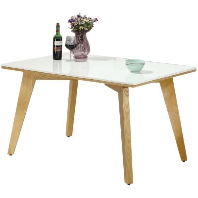 AT HOME-葛麗絲4.3尺栓木漢白玉原石餐桌