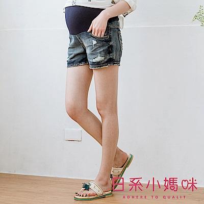 日系小媽咪孕婦裝-孕婦褲~刷破感水洗牛仔短褲 M-XXXL