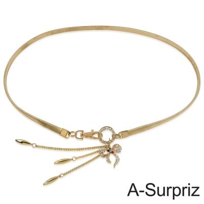 A-Surpriz 垂墬小蝴蝶金屬彈性腰鍊(金)