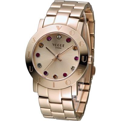 VOGUE 維多利亞奢華時尚腕錶-玫瑰金色/36mm