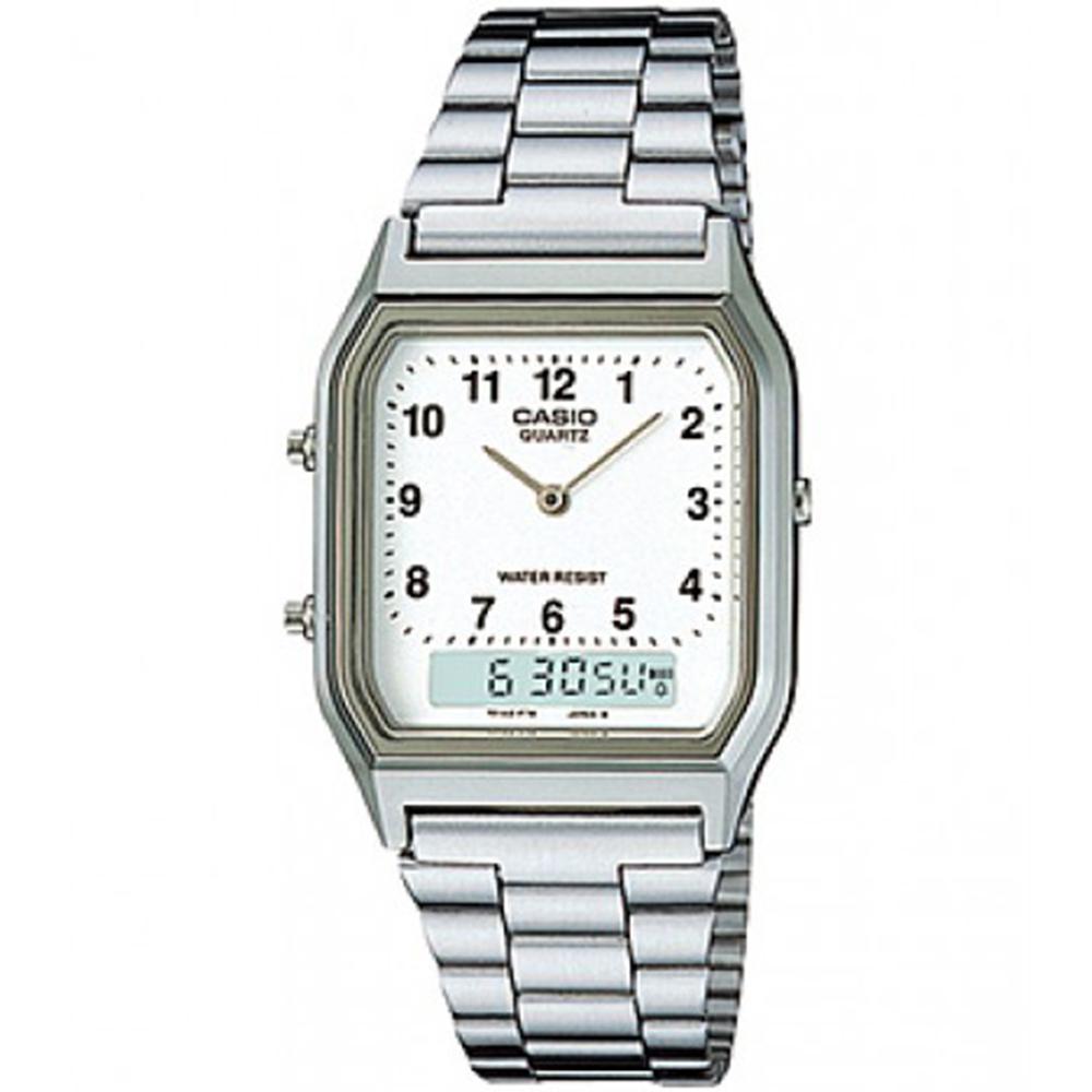 CASIO 銀色時尚復古雙顯指針錶(AQ-230A-7B)-數字白面