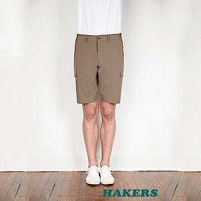 【HAKERS】男-快乾彈性短褲-布朗褐