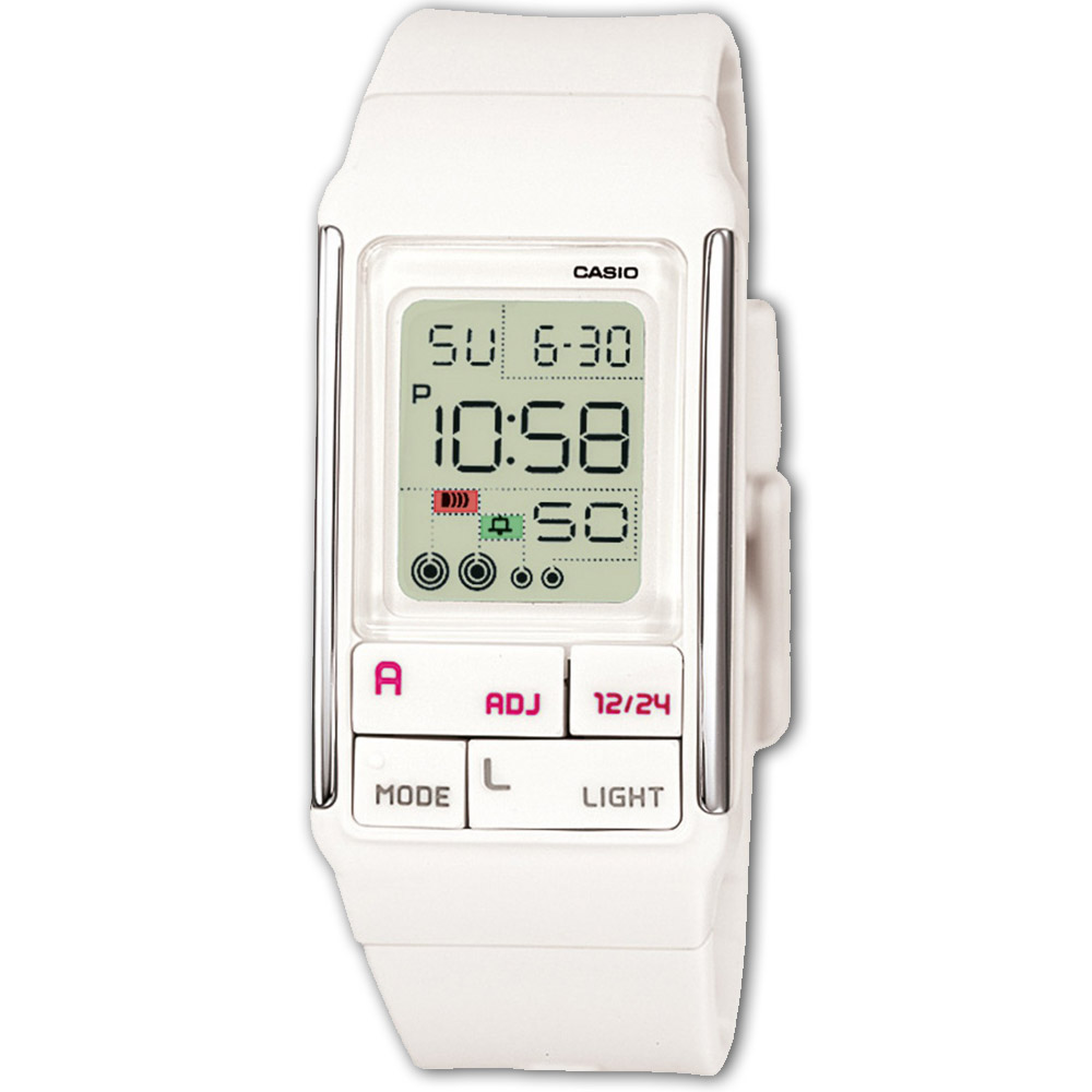 CASIO 新幾何積木方塊數字錶(LDF-52-7A)-白/23.6mm