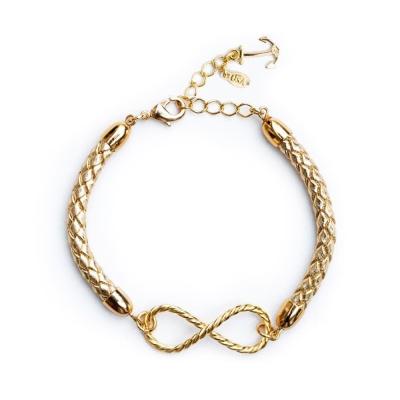 Kiel James Patrick 金色皮革編織金色無限綴飾單圈手環
