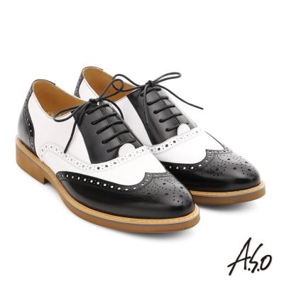 A.S.O 超輕雙核心 真皮拼接雕花奈米紳士皮鞋 黑色