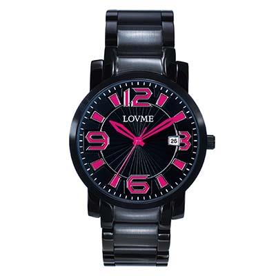 LOVME 懷舊復古個性數字腕錶-IP黑x桃紅色刻度/32mm