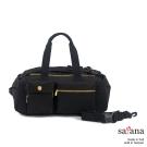 satana - 拼接機能後背包/旅行袋 - 黑色