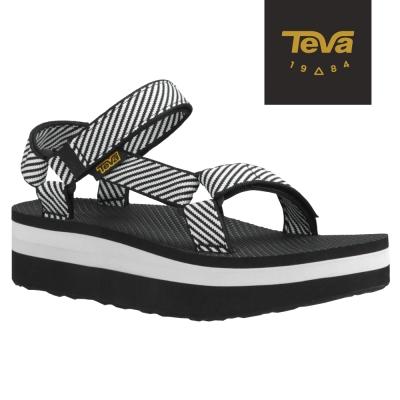 TEVA 美國-女 Flatorm Universal 織帶厚底涼鞋 (條紋黑)