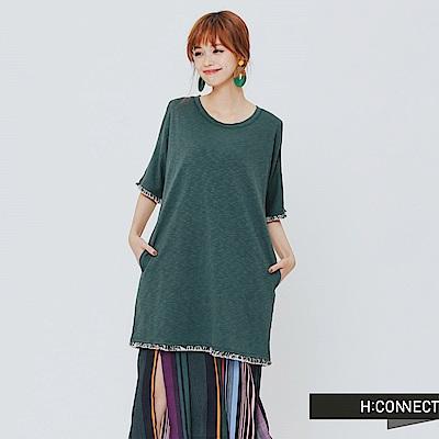 H:CONNECT 韓國品牌 女裝-削肩後綁帶小洋裝-綠 - 動態show