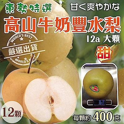 【天天果園】東勢特選高山牛奶豐水梨(每顆400g) x12顆