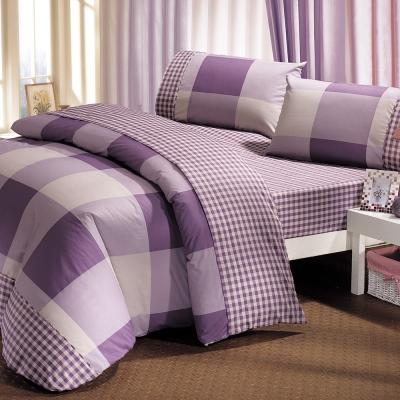 鴻宇HongYew 100%美國棉 防蹣抗菌-紳士格調 紫 雙人床包枕套三件組