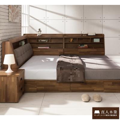 日本直人木業 KELT積層木6尺雙人抽屜床組加7尺收納邊櫃