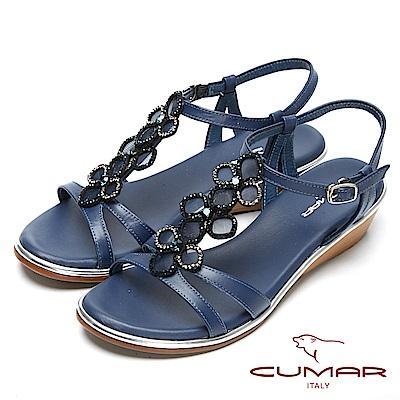 CUMAR閃亮水鑽-寶石花朵造型真皮坡跟涼鞋-藍色