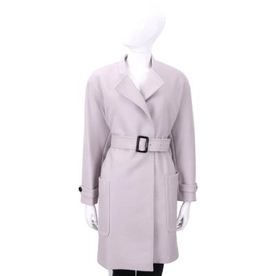 BURBERRY 粉紫色雙口袋羊毛大衣(附腰帶)
