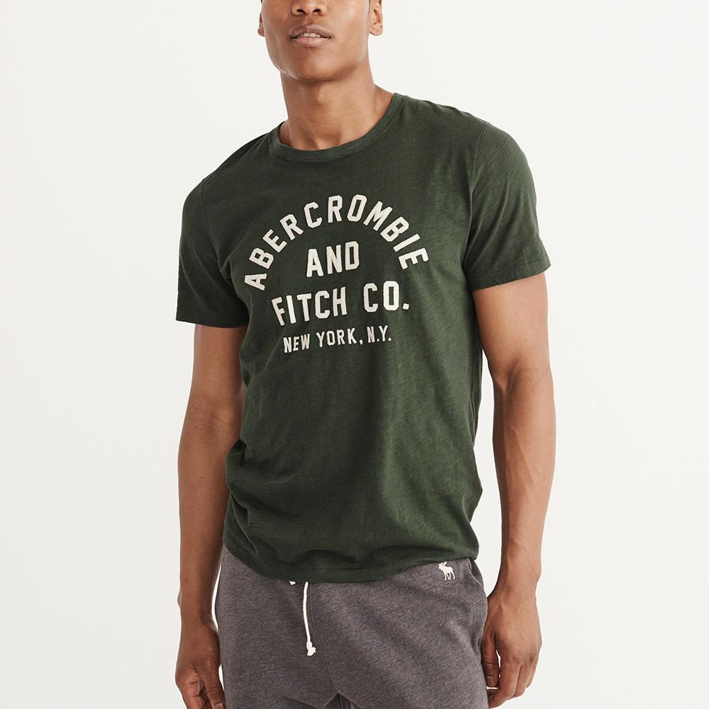 A&F 經典刺繡文字短袖T恤-墨綠色 AF Abercrombie