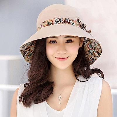 幸福揚邑 愛心紋大帽檐抗UV防紫外線雙面配戴可摺疊遮陽帽-米