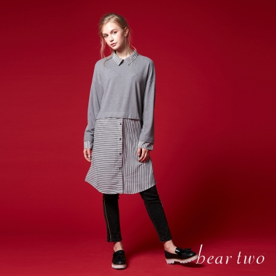 beartwo假兩件式翻領長版襯衫洋裝(二色)