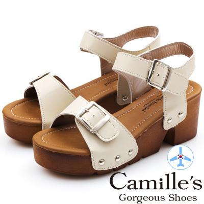Camille's 韓國空運-正韓製-皮帶釦造型粗跟涼鞋-杏色