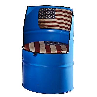 AT HOME-工業風設計美利亞藍色油漆桶收納椅(50*50*78cm)