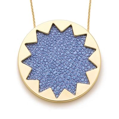 House of Harlow 1960 藍色珍珠魚皮革太陽神圓形金項鍊 附原廠包裝