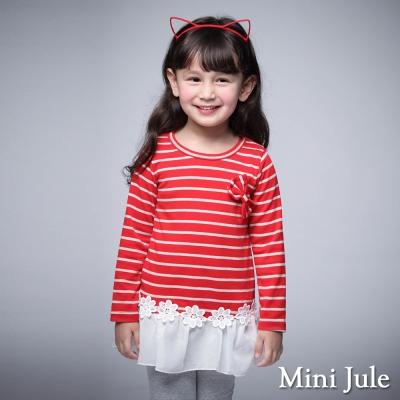 Mini Jule 童裝-上衣 條紋蝴蝶結花朵雪紡下擺長袖上衣(紅)