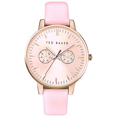 Ted Baker 英倫雙環時尚皮革手錶-玫瑰金X粉/40mm