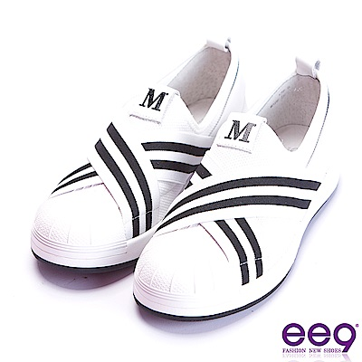 ee9 經典手工交叉纏繞豐超輕平底休閒便鞋 白色