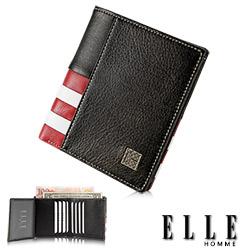 ELLE HOMME 法式紅白黑系列-11卡三折鈔票雙層真皮短夾-黑色