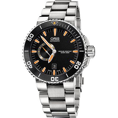 ORIS 豪利時 Aquis 專業500米潛水小秒針機械錶-橘時標/46mm