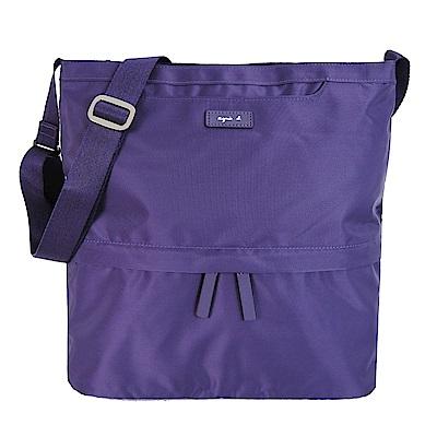 agnes b.皮標前口袋四方斜背包-大/紫
