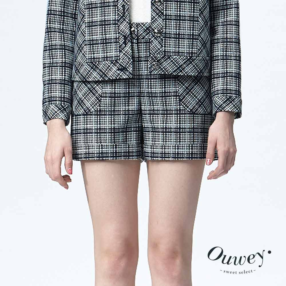 OUWEY歐薇 造型口袋格紋短褲