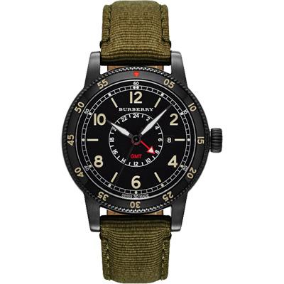 BURBERRY Utilitarian 系列GMT 二地時區腕錶-黑x軍綠錶帶/42mm