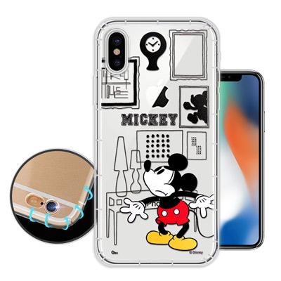 迪士尼授權正版 iPhone X 簡約線條 空壓安全手機殼(米奇)
