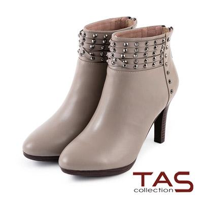TAS-個性鉚釘層次繫帶高跟踝靴-卡其杏