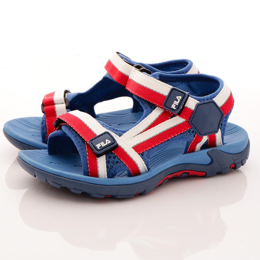 FILA頂級童鞋款-織帶運動涼鞋款-R231藍紅中大童段HN