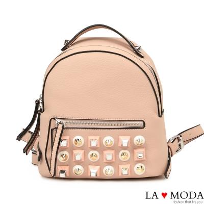La Moda 摩登時尚特色鉚釘設計荔枝紋後背小包(粉)