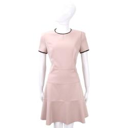 SI-JAY 粉色拼接皮革滾邊短袖洋裝