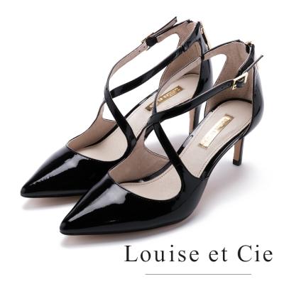Louise et Cie 交叉帶金屬鍊細跟鞋-黑色