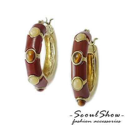 【Seoul Show】卡迭石 壓克力石針式耳環