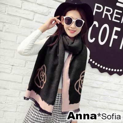 AnnaSofia-山茶花圖騰雙面色-仿羊絨大披肩圍巾-黑粉系