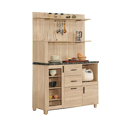 品家居 溫妮費3.9尺石面三抽餐櫃組合(二色)-117.5x42.3x175cm免組